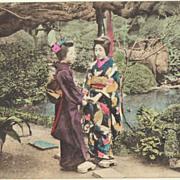 SOLD 2 Japanese Postcards, Ladies in Garden