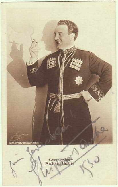 Richard Tauber Autograph from 1930. Hand-signed Photo