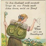 Vintage Postcard Lady with Rucksack. Leporello, Wien