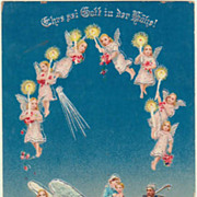 SOLD Merry Xmas: Angels and the Holy Family. Vintage Postcard