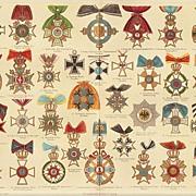 1900: Orders, Decorations. Set of 3 antique Chromolithographs. Decorative.