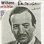 David Niven Autograph on Magazine Snippet. CoA