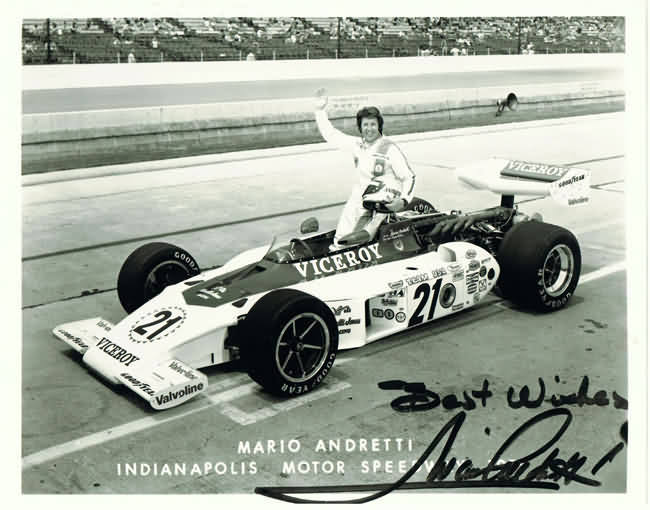 Mario Andretti Autograph. 10 x 8. CoA