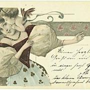 Art Nouveau Postcard Lady and Putto. 1901