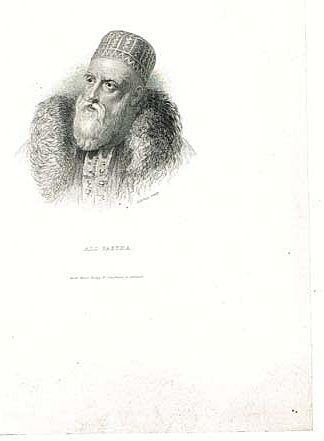 Ali Pasha Turkish Ruler Antique Engraving. 19. Ct