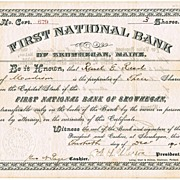 First National Bank of Skowhegan Bank. Antique Stock Certificate 1902