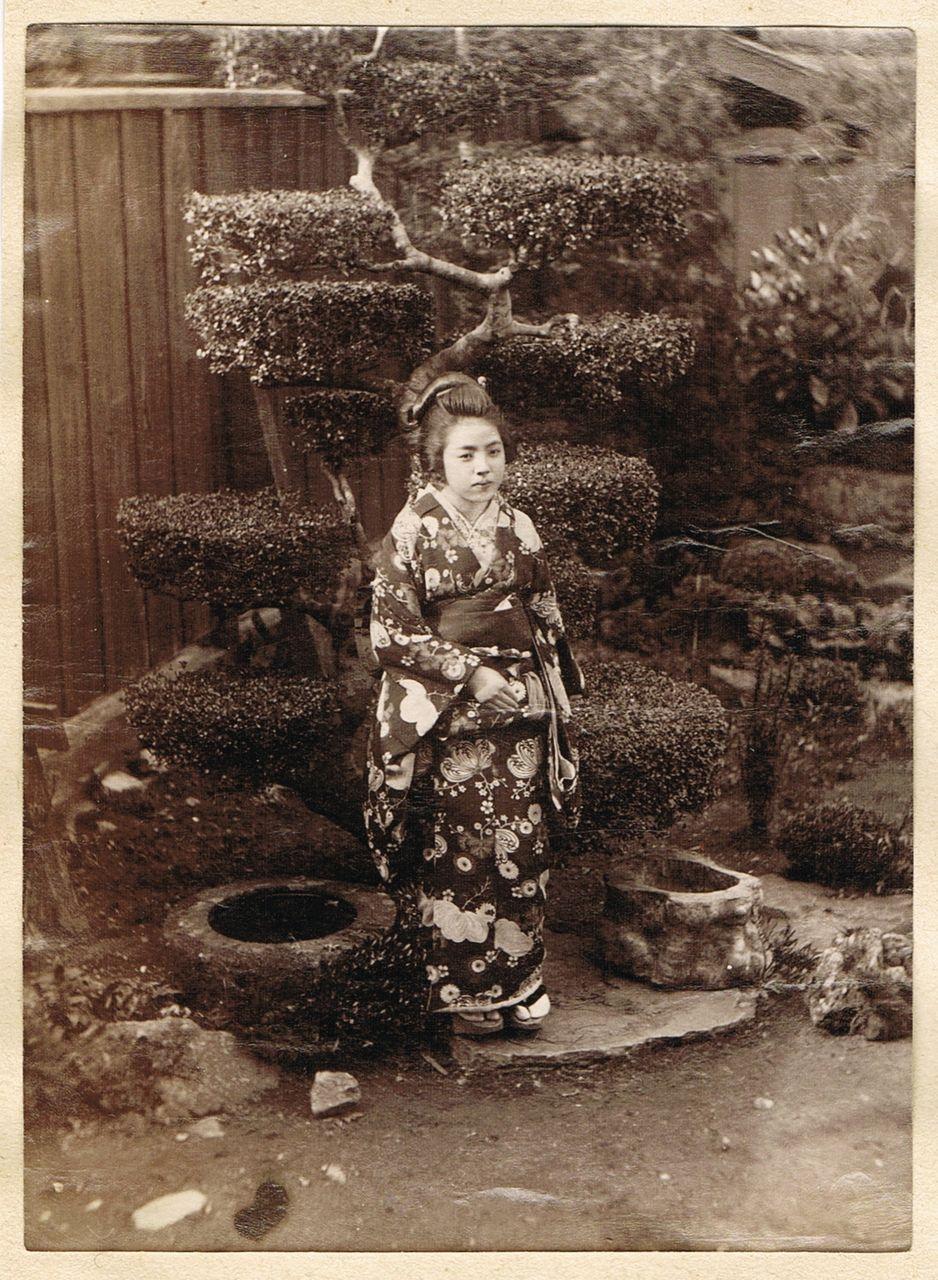 Japanese Girl in Garden. Albumen Photo. 1880s