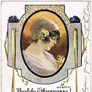 Happy Easter. Art Nouveau Postcard, Artist signed
