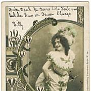 Art Nouveau Postcard with Photo by Eddowes Bros. 1900