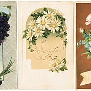 3 Art Nouveau Postcards with Flower Motifs. 1915