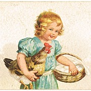 Easter Postcard Girl with Hen and Eggs
