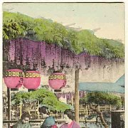 SOLD Old Japan: Tinted Postcard with Ladies celebrating Tea Ceremony. Ca. 1910.