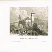 Hebron and Abraham's Grave. Antique Etching