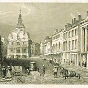 State Street in Boston: Antique Steel Engraving, app. 1840
