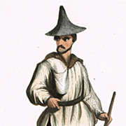 Korean Man, Etching from 1847, hand colored