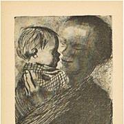 SOLD Kaethe Kollwitz Artist Postcard Mother with Baby 1925