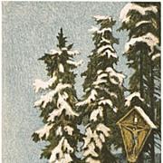 Winter Postcard by Ernst Emil Schlatter, lithograph