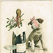 New Years Postcard with Dog And Champagne, 1908