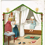Girls with Santa, Pauli Ebner Christmas Postcard