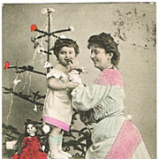 Doll and Xmas Tree, Old-fashioned Christmas. Postcard from 1906
