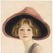 SOLD Lady with Hat, Constance. Vintage Postcard by Harper