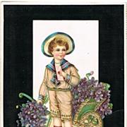 Vintage Postcard with Boy, Love Letter and Violets, 1907