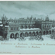 Krakow vintage Postcard, View at Sukiennice, Cloth Hall