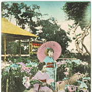 SOLD Tinted Japanese Postcard with 2 Ladies in Kimono