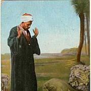 Prayers. Oriental Vintage Postcard. Cairo to Wien. 1911