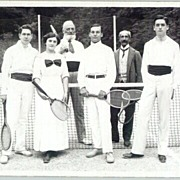 ca. 1920: Photograph showing a mixed group of Tennis players.