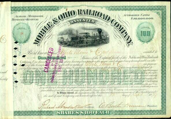 1879: The Mobile and Ohio Railroad Company. Certificate with fine Locomotive