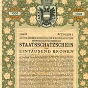 1918.  Austrian Art Nouveau: Treasury Bond. 10,000 Crowns