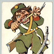 Mocking card against Japan. WWI: Russian Japanese War: