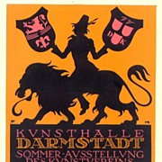 """1914: German lithographed ad for the """"Kunsthalle Darmstadt""""."""