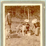 Cabinet photo of 3 Ladies with Dogs, ca. 1915
