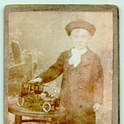 SOLD Old Cabinet Photo of a Boy with an Oldtimer Car