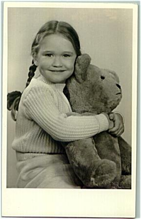 Beautiful Vintage Photo of Girl with her Teddy Bear