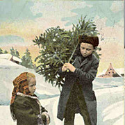 SOLD 1902: Lovely Xmas postcard Boy and Girl with Christmas Tree