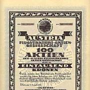 Scarce Austria Flugverkehrs AG, the 100 x 1000 Share
