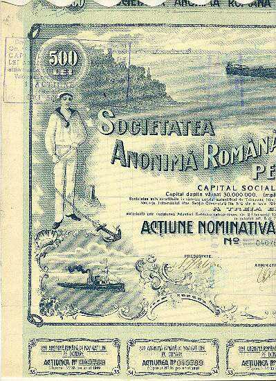 Dunare. Decorative Romanian Stock Cerificate with Sailor and Ship 1921