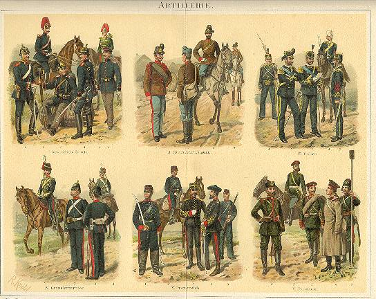 1898: Artillery: Very decorative Chromo Lithograph