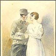 W.W.I.: 1918: Nice, original Watercolor: Soldier and Bride.