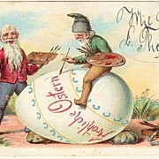 1901: Happy Easter. Litho Postcard, 2 Gnomes at Work