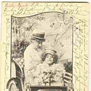 Art Nouveau Postcard: Ladies in a Car. Guardian angels. Artist signed.