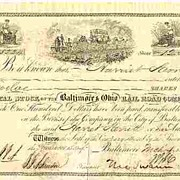 1853: Authentic The Baltimore & Ohio RR Share. Swann signed. COA