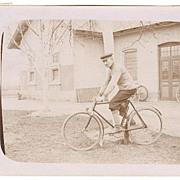 Vintage Photo: Man on Bicycle, 1914