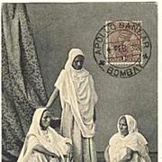 Old India Postcard: Ayahs. Apollo Bandar Cancellation