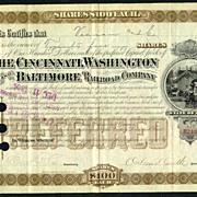1883: 4 items of the Cincinatti Washington and Baltimore RR Co.