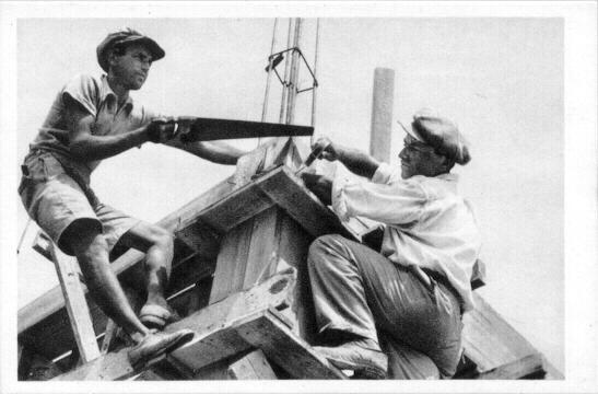 """Jewish Builders"". Palestine photo, printed in Austria"