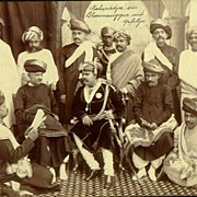 Outstanding Old Albumen Photo of the Maharaja of Bhownnuggur with his men.